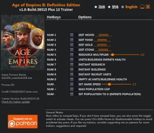 Age of Empires II: Definitive Edition Trainer for PC game version Build 39515