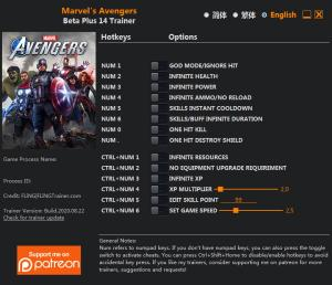 Marvel's Avengers Trainer for PC game version Beta