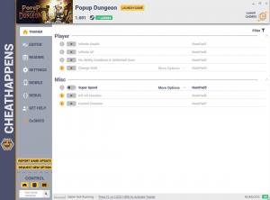 Popup Dungeon Trainer for PC game version v1.001