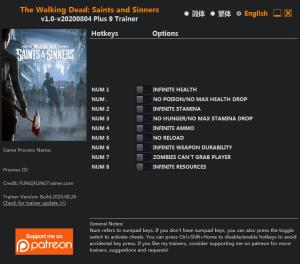 The Walking Dead: Saints and Sinners Trainer for PC game version v2020.08.04