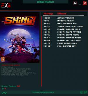 Shing! Trainer for PC game version v1.0