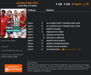 eFootball PES 2021 Trainer for PC game version v1.01