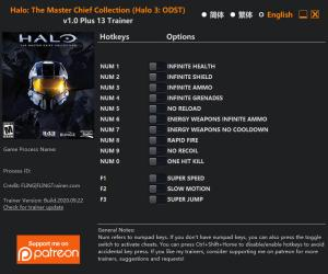 Halo: The Master Chief Collection Trainer for PC game version v2020.09.22 Halo 3: ODST