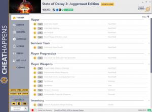 State of Decay 2: Juggernaut Edition Trainer for PC game version  v406293