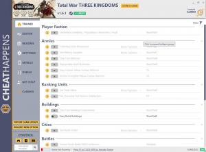 Total War: THREE KINGDOMS Trainer for PC game version v1.6.1