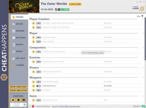 The Outer Worlds Trainer for PC game version v10.24.2020
