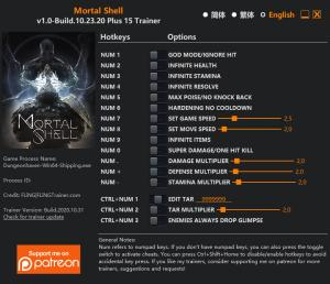 Mortal Shell Trainer for PC game version v1.0 Build 10.23.20