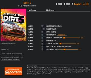DIRT 5 Trainer for PC game version v1.0