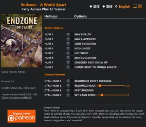 Endzone - A World Apart Trainer for PC game version v2020.11.08