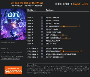 Ori and the Will of the Wisps Trainer for PC game version v2020.11.14