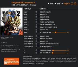 Dragon Ball Xenoverse 2 Trainer for PC game version  v1.15.01