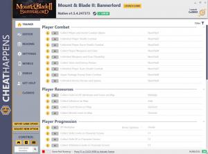 Mount and Blade 2: Bannerlord Trainer for PC game version e1.5.4.247373