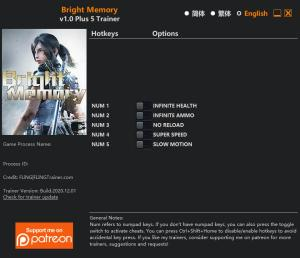 Bright Memory Trainer for PC game version v1.0