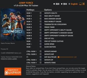 Jump Force Trainer for PC game version v2.04