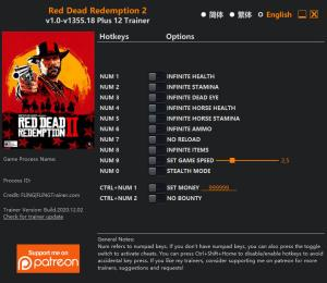 Red Dead Redemption 2 Trainer for PC game version v1355.18