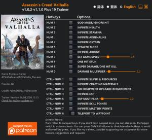 Assassin's Creed: Valhalla  Trainer for PC game version v1.1.0