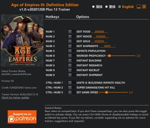 Age of Empires III: Definitive Edition Trainer for PC game version v2020.12.08