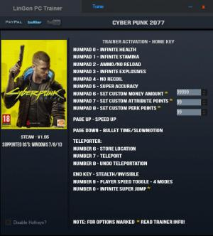 Cyberpunk 2077 Trainer for PC game version v1.05