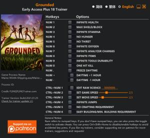 Grounded Trainer for PC game version v2021.01.25