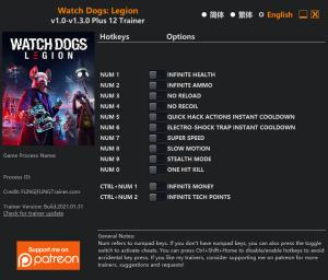 Watch Dogs: Legion Trainer for PC game version v1.3.0