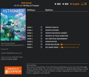 ASTRONEER Trainer for PC game version v1.18