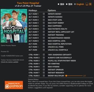Two Point Hospital Trainer for PC game version v1.25
