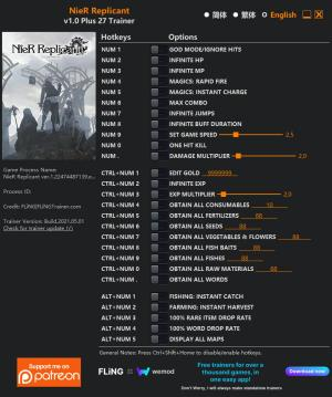 NieR Replicant  Trainer for PC game version v1.0